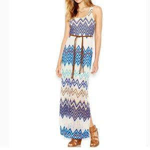 Sanctuary Chevron-Print Belted Maxi Dress